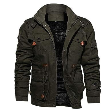 nouveau produit 47957 cbac5 FNKDOR Manteau Homme Automne Hiver Plus Velours Chaud Militaire Pilote  Veste Loisirs Drawstring Coupe-Vent Blouson Jacket à Poches