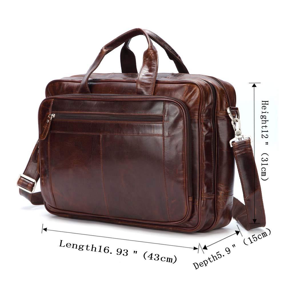 Men/'s Leather Bag Business Messenger Laptop Carry On Shoulder Briefcase Handbag