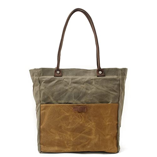 46d8029723e Women's Canvas Bag, Oil Wax Waterproof Shoulder Hand Bag Tote Bag Retro Large  Shopper Work