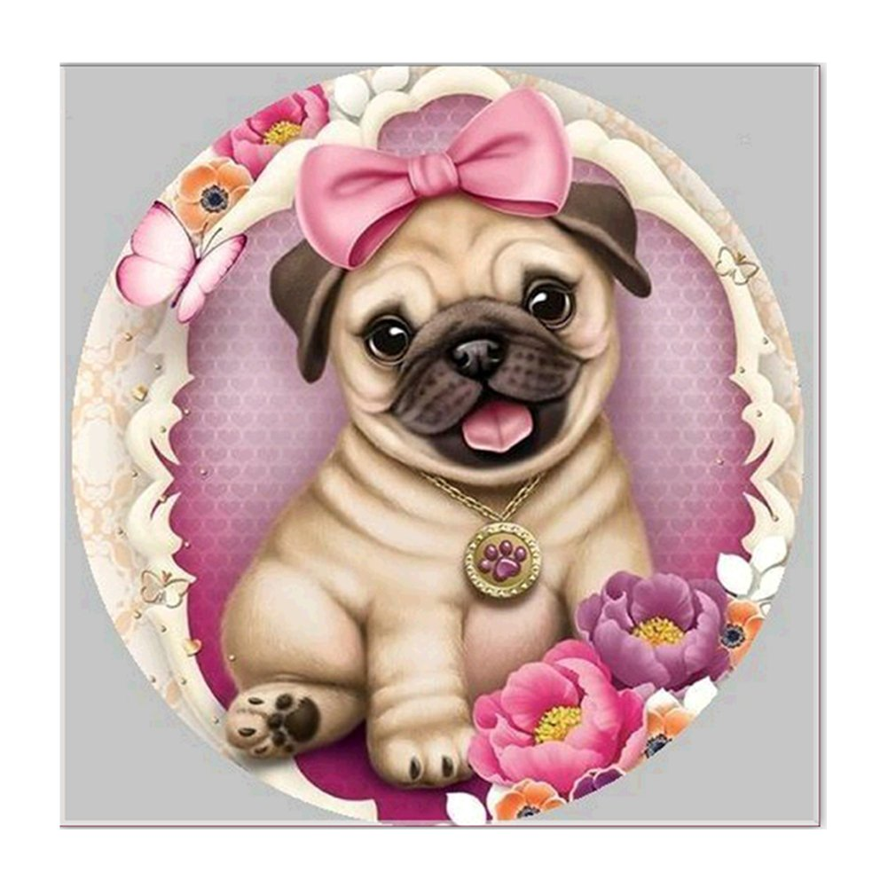 Good01 Pug Dog 5D Diamond Painting Crystals Embroidery DIY Paint-By-Diamond Kit - Resin Cross Stitch Kit