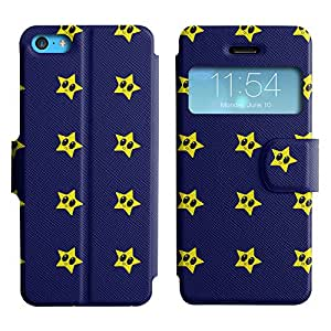 AADes Scratchproof PU Leather Flip Stand Case Apple iPhone 5C ( Yellow Stars )