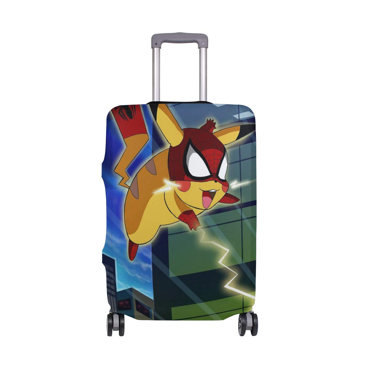Cartoon Pikachu Spiderman Superhero Pikaspider Travel Luggage Cover Suitcase Protector Fits 26-28 Inch Washable Baggage Covers