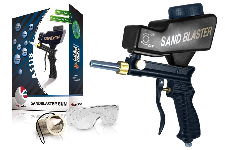 Sandblaster Portable Media Blaster Sand Blasting Nozzle Gun Gravity Feed Sandblast Gun Media Blaster with Extra Tip Black