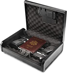AEGIS Gun Safe for Pistols,Biometric and Fingerprint Pistol Safe for Handgun, Quick Access Lock Box Security Pistol Case Box for Home