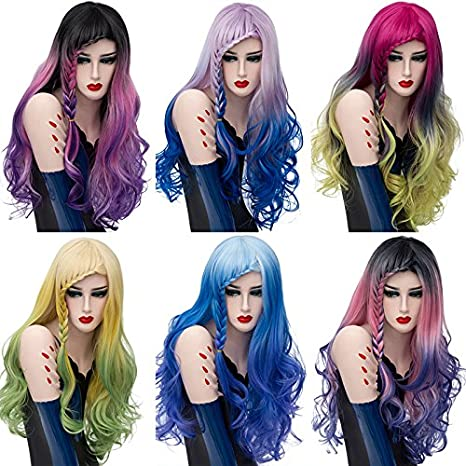 Amazon.com : Mufly Synthetic Wigs 150% Density Long Wavy Curly Hair for Cosplay Costume Party& Fancy Dress 26 Inches(Ombre Purple) : Beauty