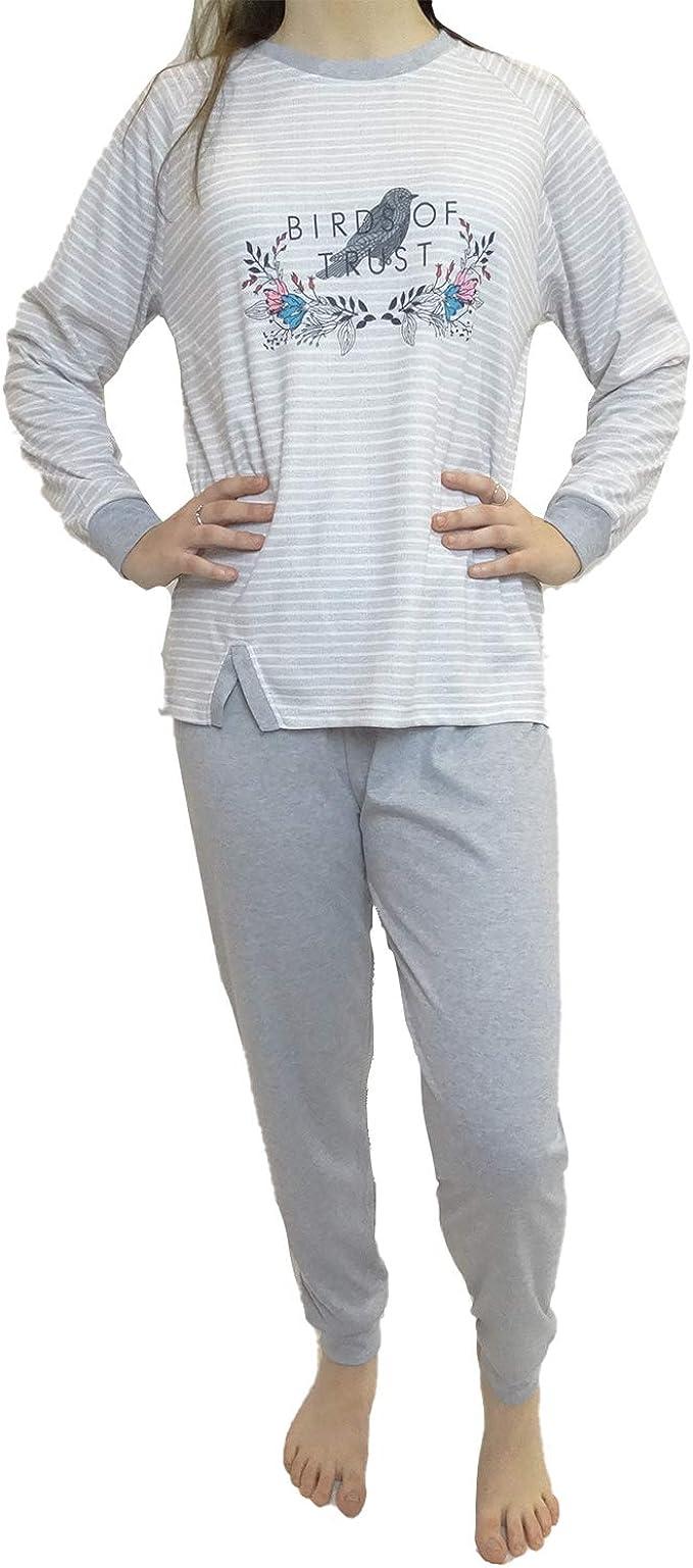 Mini kitten - Pijama de Mujer de Algodon DE Color Camiseta Manga Larga con Estampado y Rayas con Pantalon Largo de puño/Ropa para Dormir Comodo: Amazon.es: Ropa y accesorios