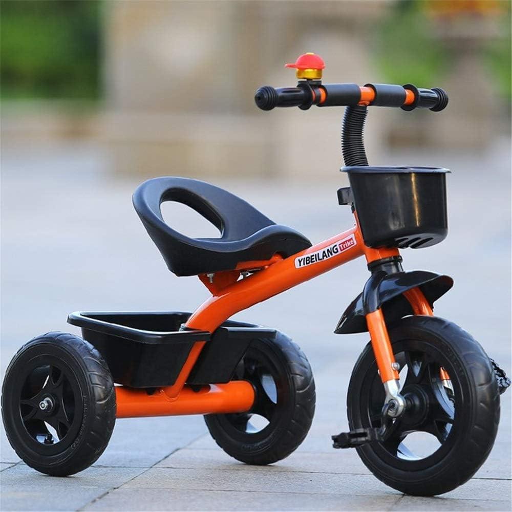 ZzheHou Triciclo para niños Paseando y Montando un Triciclo con una empuñadura de dirección y un Cubo de Arena de Juguete Triciclo para niños Plegables (Color : Naranja, tamaño : Un tamaño)