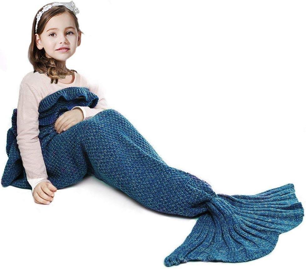 JR.WHITE Mermaid Tail Blanket for Kids, Hand Crochet Snuggle Mermaid,All Seasons Seatail Sleeping Bag Blanket (Dark Blue)