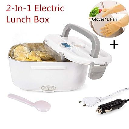 Nifogo Fiambrera Eléctrica Comida Térmico Lunch Box - 2 en 1 Fiambreras Bento Acero Inoxidable 12V / 220V con Cuchara y 2 Compartimentos para Coche ...