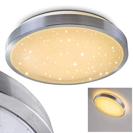Bad-Lampe Sora Star aus gebürstetem Aluminium – Warmweißes LED-Licht mit  900 Lumen und 12 Watt für die Decke mit Sternendekor –  Badezimmer-Beleuchtung ...