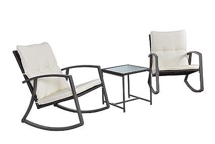 Amazon.com: feelway 3 pcs mecedora Patio, muebles de mimbre ...