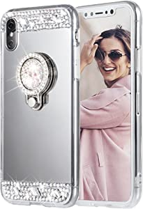 iPhone X Case, Caka iPhone Xs Glitter Case Rhinestone Series Luxury Cute Shiny Bling Mirror Makeup Case for Girls with Ring Kickstand Diamond Crystal Protective TPU Case for iPhone X XS (Silver)