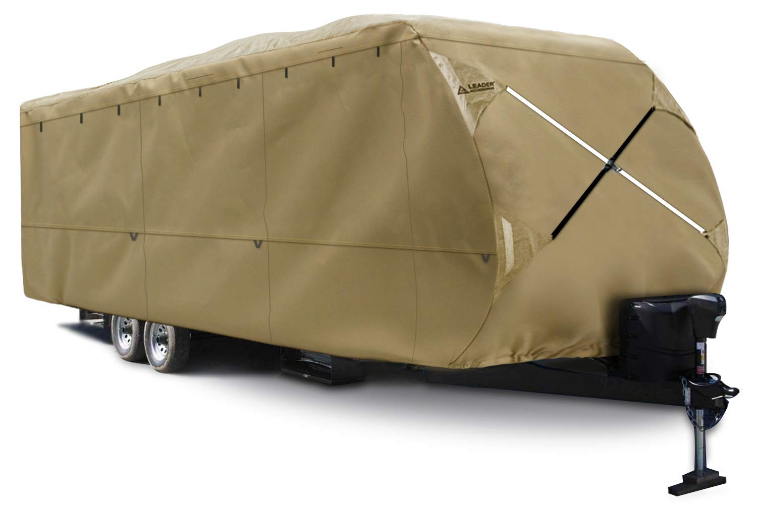 Leader Accessories Heavy Duty 300D Soft Ripstop Polyester Travel Trailer RV Cover Fits 20'-22' RVs Camper All Weather with Windproof Straps and Buckles & Adhesive Repair Patch, High Abrasion