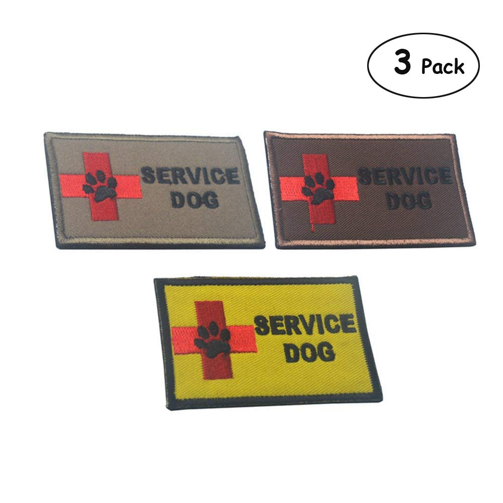 (3 Pack S-Service Dog) Ultrafun Service Dog Hook & Loop Fastening Tape Patch for Pet Harness Vest 2 X 3 Inches Set of 2 (3 Pack S-Service Dog)
