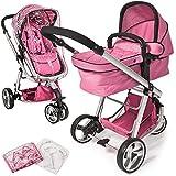 TecTake 3 en 1 poussette canne de voyage voiture d'enfants combinable poussette Baby Jogger voiture d'enfant sport pink habillage pluie moustiquaire