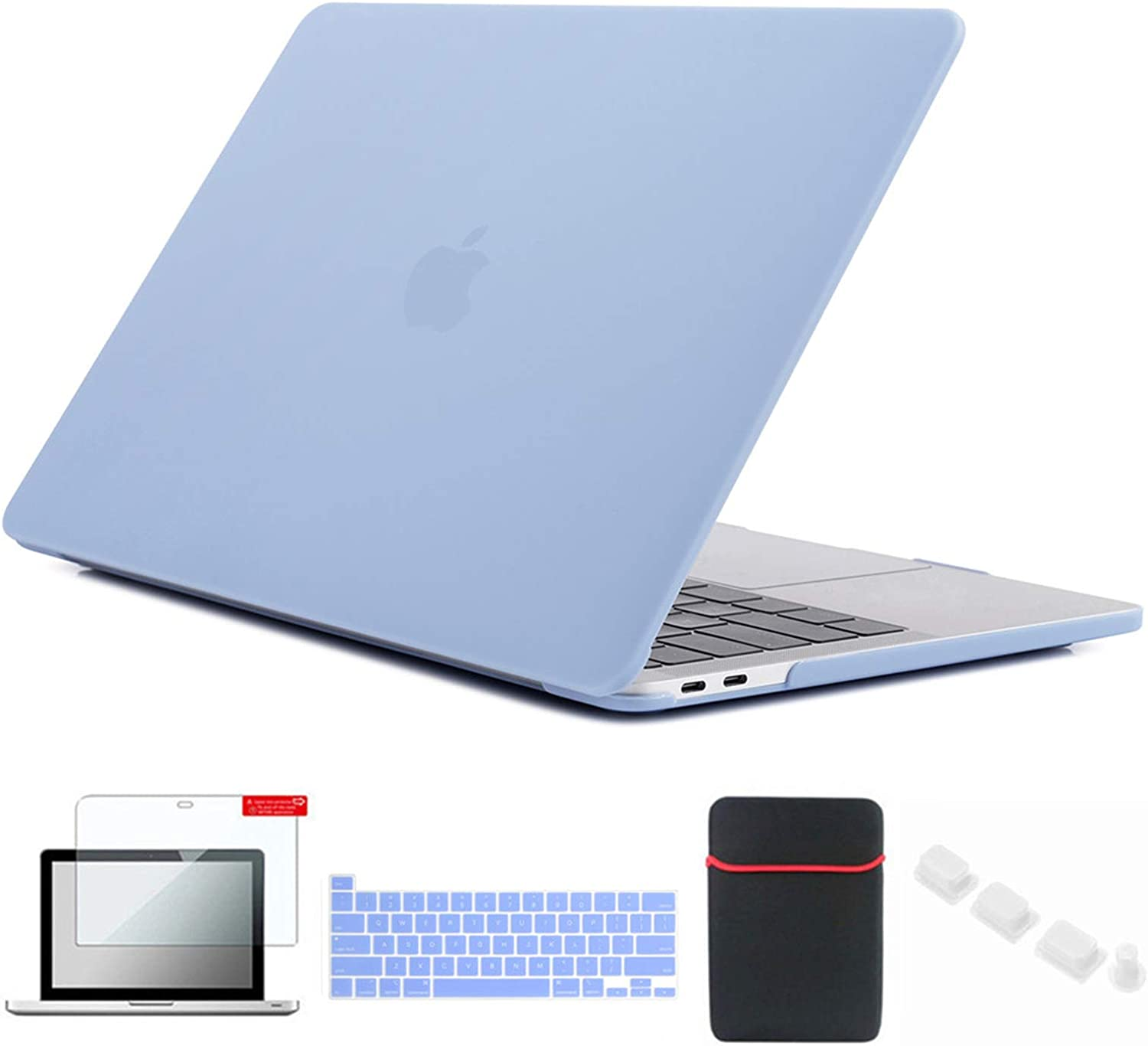 Se7enline MacBook Pro 2021/2020 Case 13 inch Laptop Cover Compatible with MacBook Pro 13-inch Model M1 A2338/A2251/A2289 with Sleeve Bag, Keyboard Cover, Screen Protector, Dust Plug, Serenity Blue