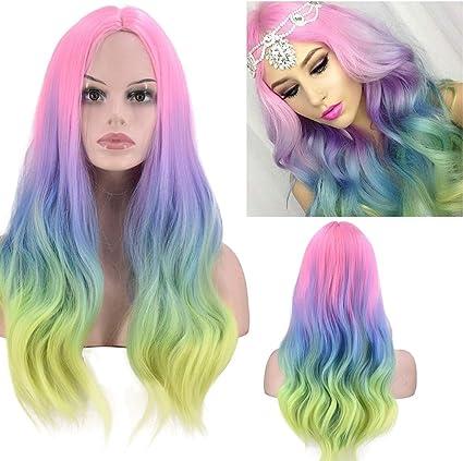 Peluca larga rizada de color degradado, peluca de arco iris ...