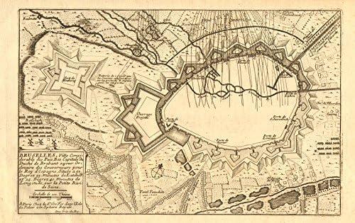 Amazon Com Bruselles Brussels Bruxelles Fortified Town City Plan De Fer 1705 Old Map Antique Map Vintage Map Belgium Maps Posters Prints