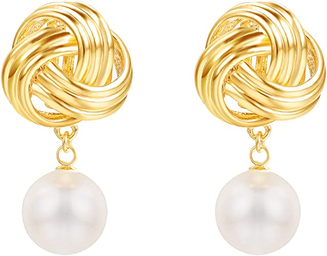 Crystal swirl and pearl clip on earrings in silver plate