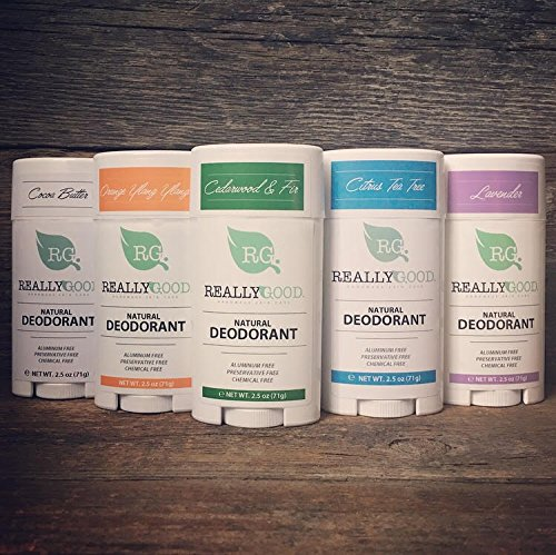 Really Good Skin Care All Natural, Aluminum Free Deodorant, 2.5 oz - Variety 5-Pack - Preservative and Chemical Free, Vegan Odor Protection by Really Good Skin Care