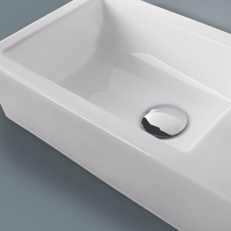 walcut usbr bathroom wall mount rectangle white porcelain  - walcut usbr bathroom wall mount rectangle white porcelain ceramic vesselsink  chrome faucet combo   amazoncom