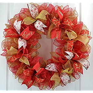 Christmas Mesh Party Welcome Front Door Deco Mesh Wreath; Red Gold White 105