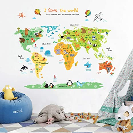 ufengke Cartoon World Map Cute Animal Wall Decals, Children\'s Room Nursery  Removable Wall Stickers Murals