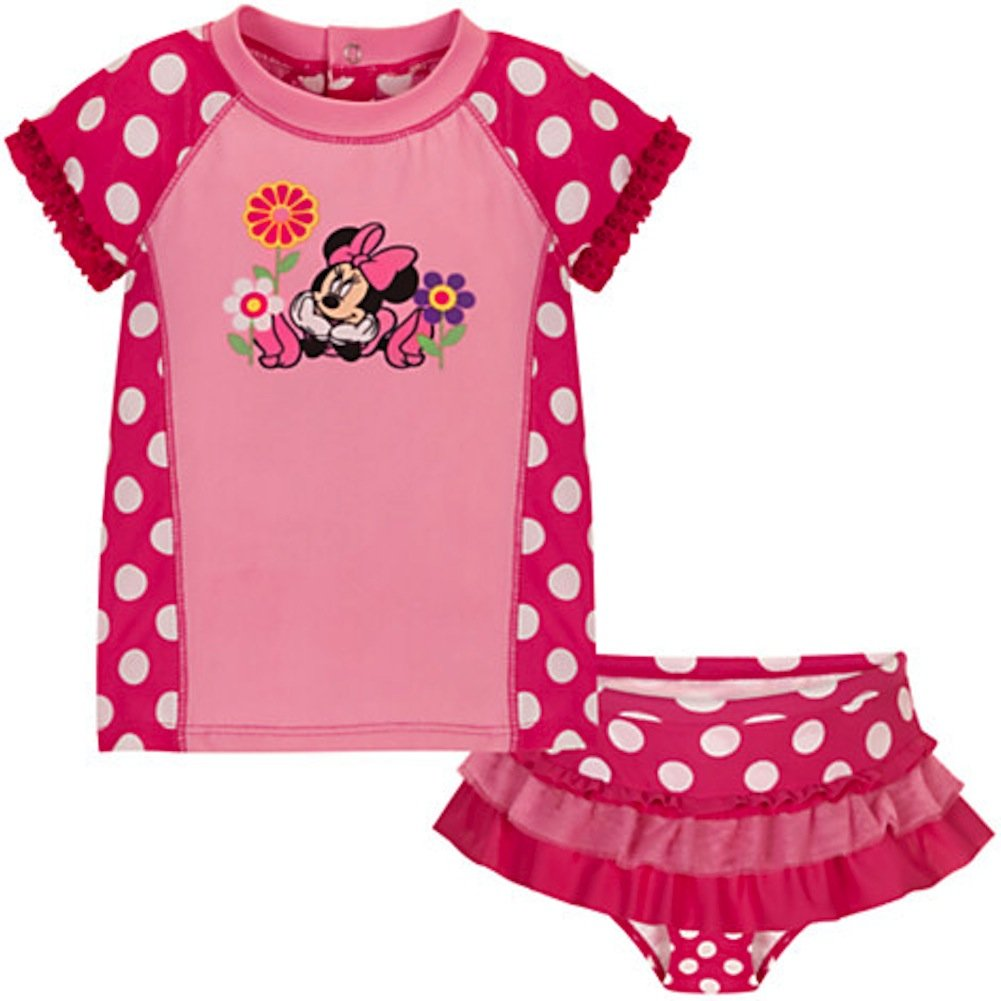Disney Store Minnie Mouse Rashguard Swimsuit 6-12 Months Pink by Disney