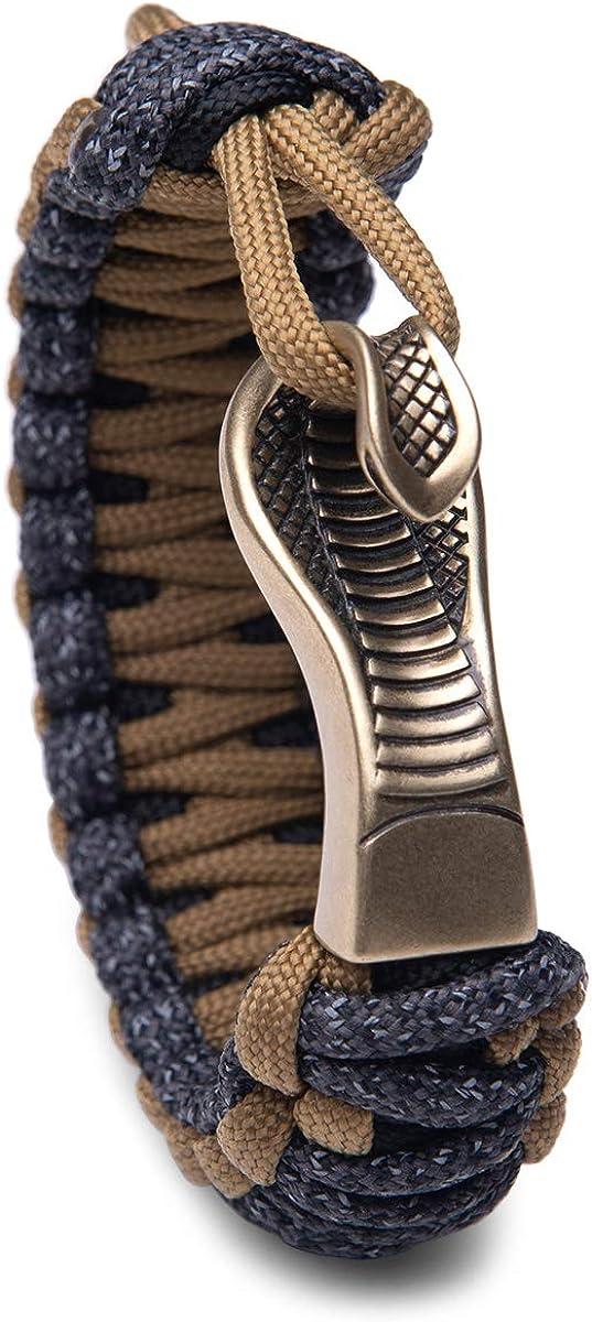 Kayder Vintage Egyptian Snake Paracord Bracelet Black Static Reflective Galaxy Wristband Adjustable King Cobra Hook Cuff Bracelet Gift for Men Boys