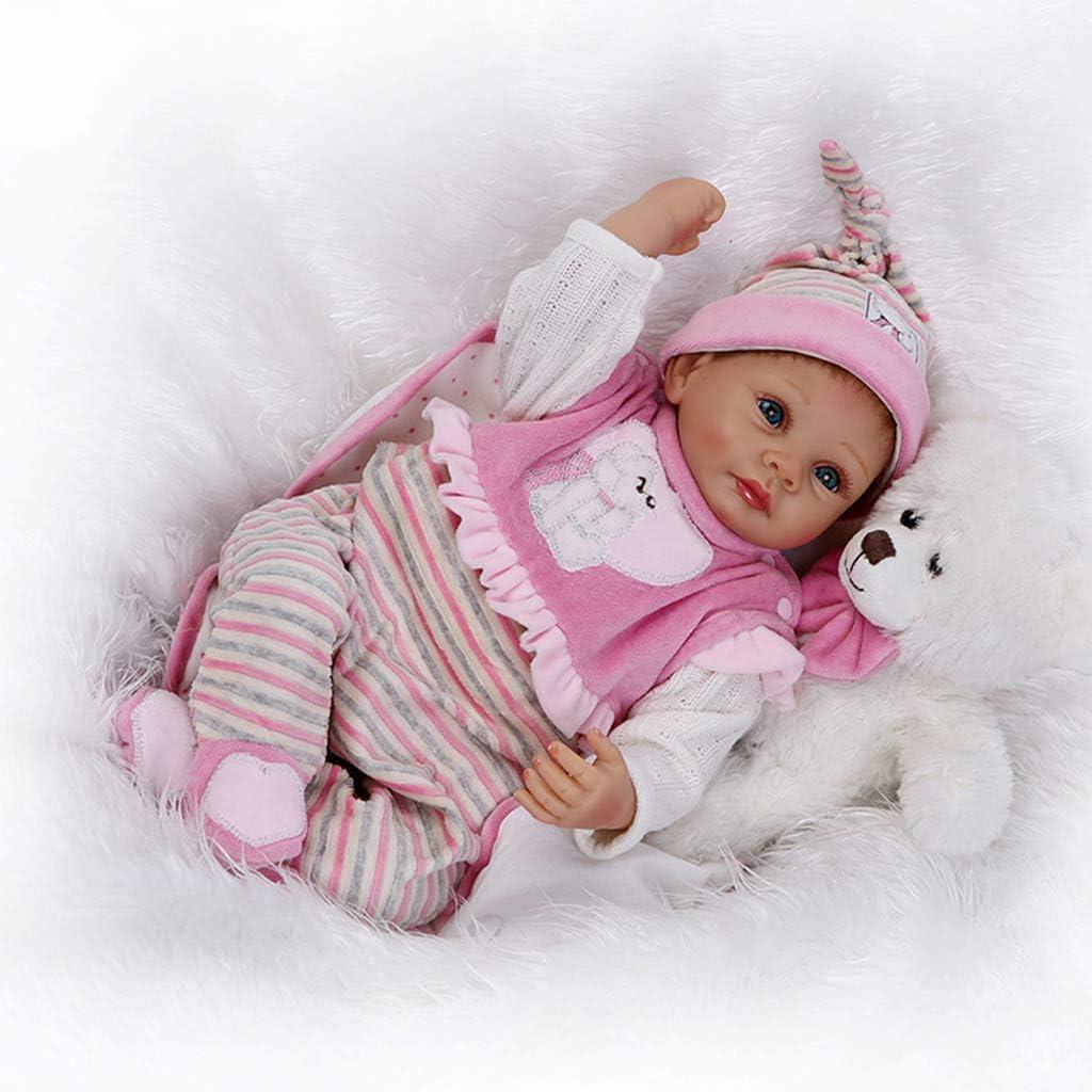 VNEIRW 22 Pouces Reborn Baby Fille Dolls Filles /à la Main Doux Silicone r/éaliste b/éb/é Nouveau-n/é poup/ée,camarades de Jeu pour Les Enfants de 3 Ans et Plus Type 01