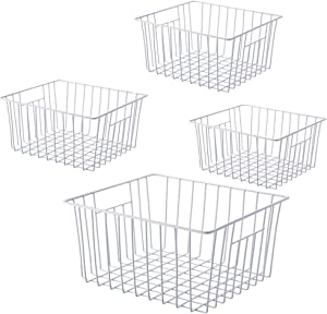Freezer Wire Baskets, Kitchen Storage Organizer Bins for Chest and Upright Freezer, Refrigerator Dividers Containers with Handles - Pearl White (4)