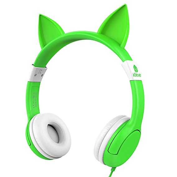 2bb91cf672b iClever BoostCare Wired Kids Headphones Cat-Inspired Over The Ear Headsets  with 85 Volume Limited