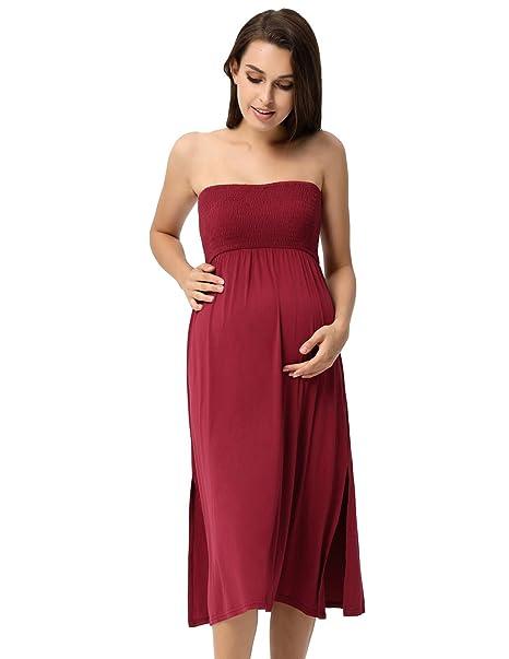 Maacie Mujeres Vestido/Falda Maxi Uso de Dos Maneras Premamá y Lactancia Algodón para Maternidad