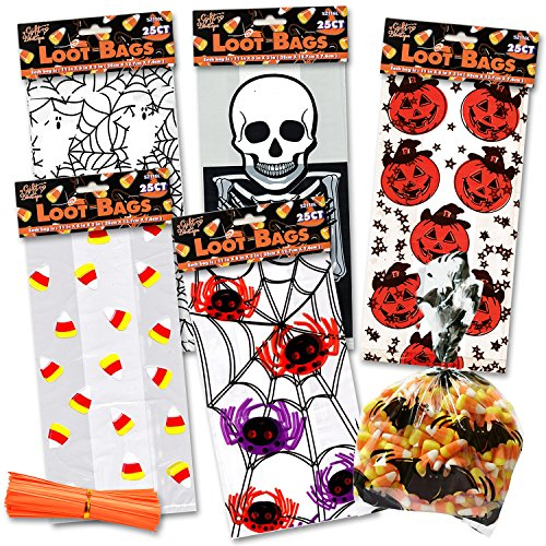 Halloween Cellophane Bags 150 Count, 6 Assorted Styles; Spiders, Pumpkins, Bats, Candy Corn, Skeleton and more...