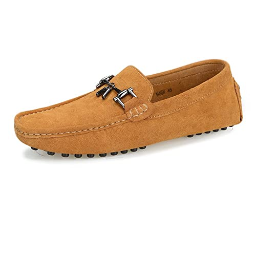 8f26f36303ca70 LLR Men s Driving Penny Loafers Suede Genuine Leather Boat Moccasins Studs  Sole with Metal Decor Business