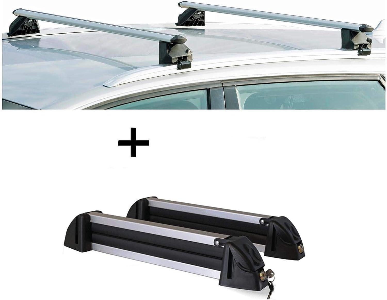 Skitr/äger//Snowboardtr/äger//Skihalter Alu 4 Paar Ski kompatibel mit Mercedes GLC 5 T/ürer ab 2015 VDP Relingtr/äger CRV107A