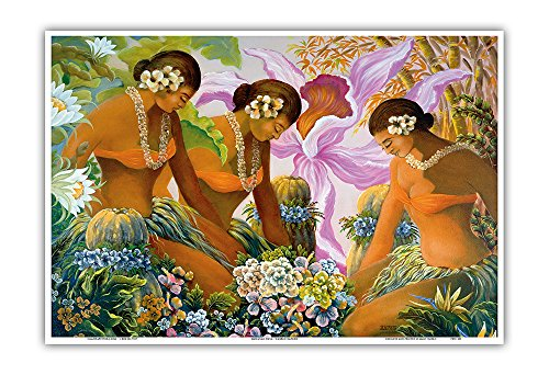 (Pacifica Island Art Hawaiian Hula - Dancers with Ipu Hula Gourd Drums - Original Color Painting by Warren Rapozo - Hawaiian Master Art Print - 13 x 19in)