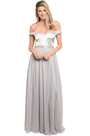 Damen Satin A Linie Perlen Maxi Lady Ballkleid Bling Tüll wP0nO8k
