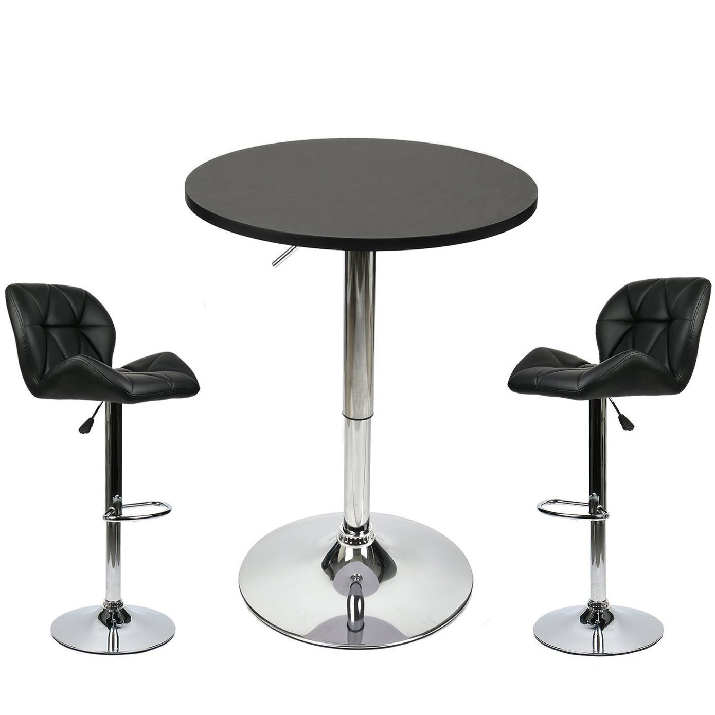 Bar Table with 2 Adjustable Swivel Stools Set - 3 Piece Pub Dining Kitchen Furniture (Black 2)