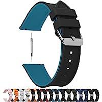 Fullmosa 8 Colores Correa de Reloj de Silicona de Liberación Rápida, Pulsera de Arco Iris de Goma Suave con Hebilla de…