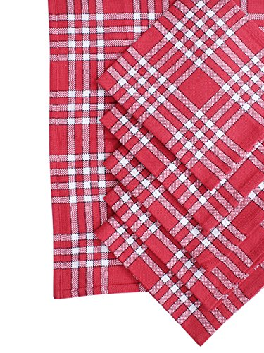 Napkins, Set of 6, 100% Cotton, Normand Check Design, Essential for all tables, Red Color, Size 16''x16''. by Villa Tranquil (Image #1)