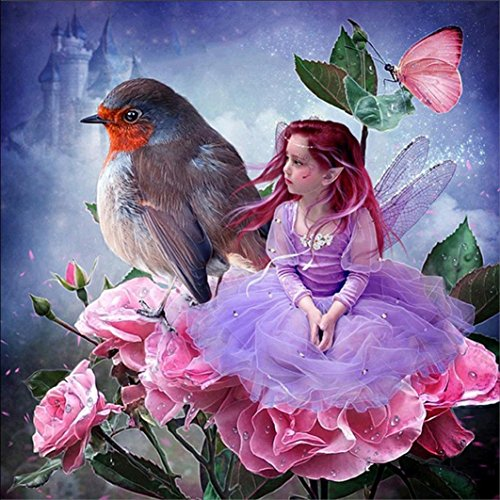 (Vacally 5D DIY Diamond Painting ,Diamond Painting By Number Kits Full Square Drill Rhinestone Embroidery for Wall Decoration Flower Fairy and Bird)
