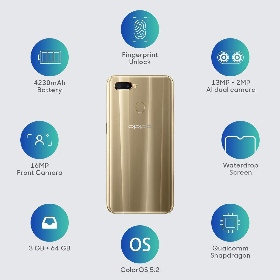 OPPO A7 (Glaring Gold, 3GB RAM, 64GB Storage) with No Cost EMI/Additional  Exchange Offers