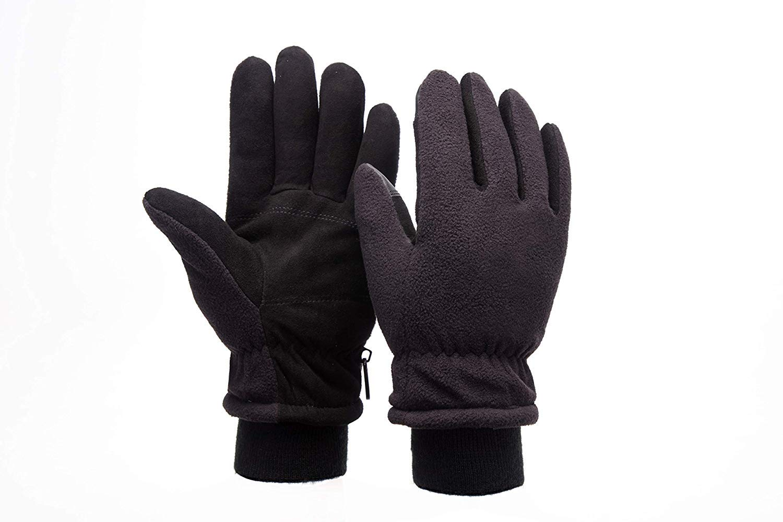 HANSHI Guantes de esquí unisex, a prueba de nieve, guantes de snowboard, forro polar y cómodo, ideal para mantener las manos calientes HCT09-E, M, Negro, 2 forro polar y cómodo
