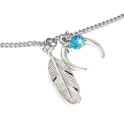 Elu - SKULLS AND SPIRITS - Cadena de acero inoxidable con luna y pluma (hecho en España): Amazon.es: Handmade