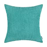 CaliTime Pillow Covers Comfortable Soft Corduroy Corn Striped 18 X 18 Inches Turquoise