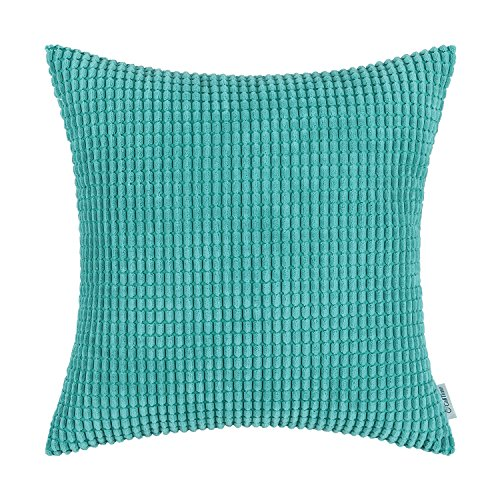 - CaliTime Cozy Throw Pillow Cover Case for Couch Sofa Bed Comfortable Supersoft Corduroy Corn Striped Both Sides 16 X 16 Inches Turquoise