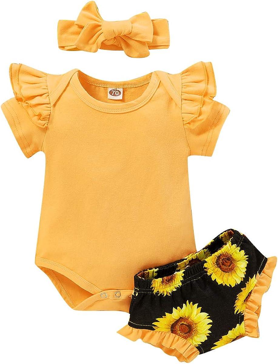 Toddler Newborn Baby Girls Summer Sunflower Outfits Ruffle Top Rainbow Short Set 3Pcs Clothes