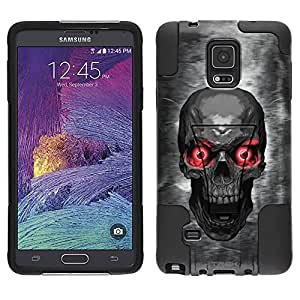 Samsung Galaxy Note 4 Hybrid Case Skull Colored Eyes Red 2 Piece Style Silicone Case Cover with Stand for Samsung Galaxy Note 4