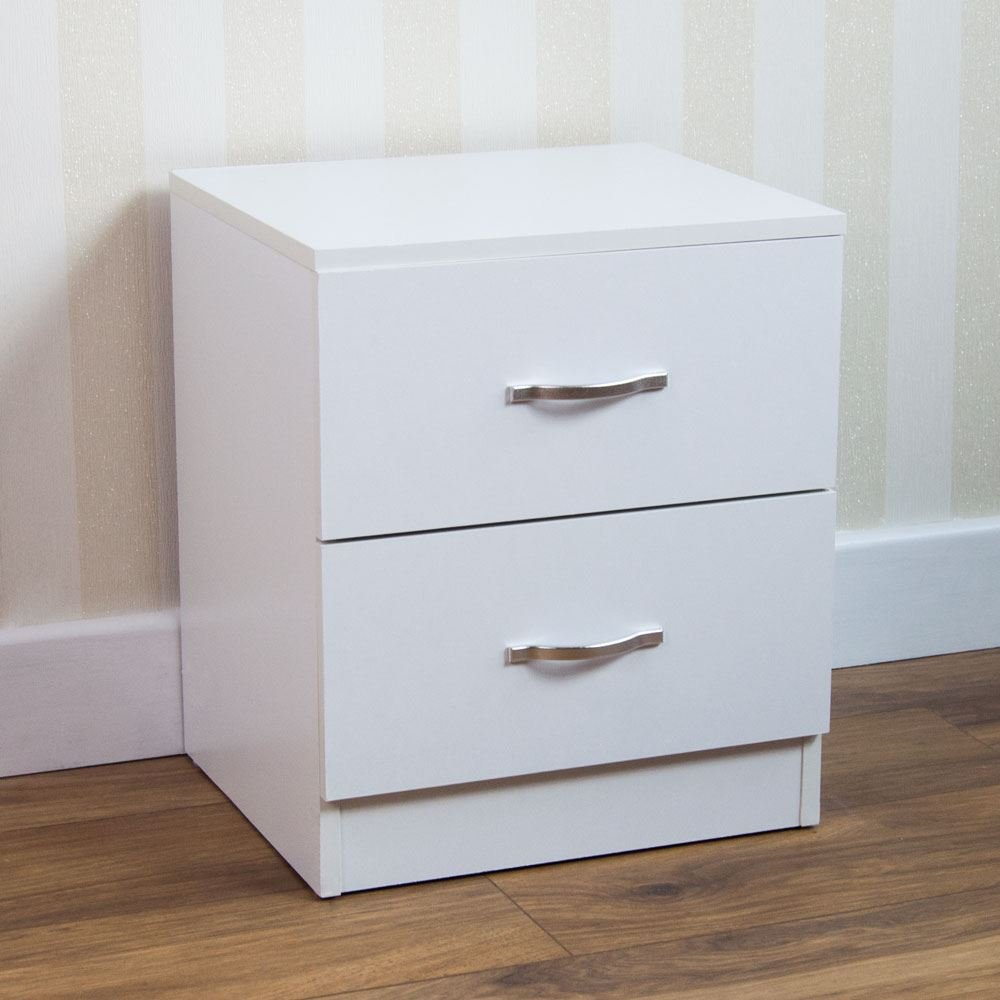 Home Discount White Bedside Cabinet, 2 Drawer With Metal Handles & Runners, Unique Anti-Bowing Drawer Support, Riano Bedroom Furniture